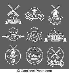 vendange, étiquettes, collection, boulangerie, retro, logo, insignes