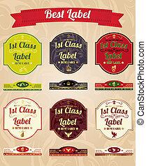 vendange, étiquettes, collection