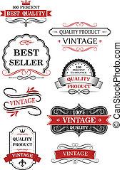 vendange, étiquettes, collection, vin