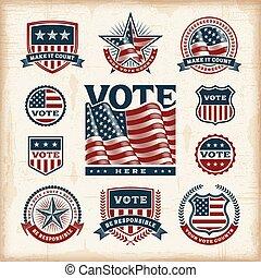 vendange, étiquettes, ensemble, élection, usa