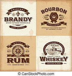 vendange, étiquettes, ensemble, alcool