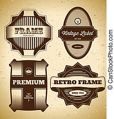 vendange, étiquettes, ensemble, grand