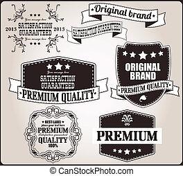 vendange, étiquettes, ensemble, retro