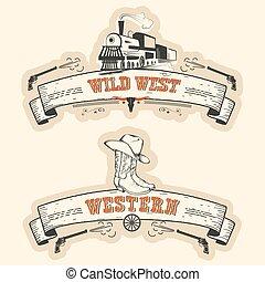 vendange, étiquettes, isolé, occidental, ouest, sauvage