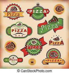 vendange, étiquettes, pizza