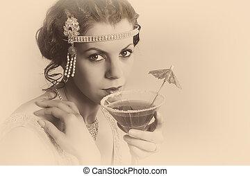 vendange, 1920s, femme, sépia