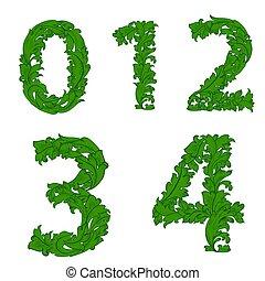 vendange, 3, font., 1, nombres, 2, ensemble, 0, floral, collection, 4