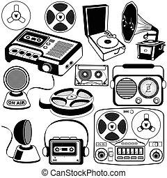 vendange, 3, musique, icônes