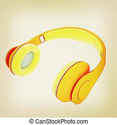 vendange, 3d, style., headphones., illustration.
