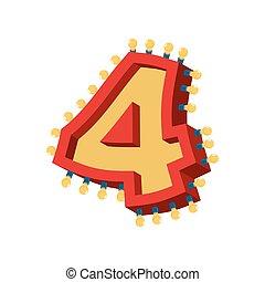 vendange, abc, alphabet, nombre, étincelant, incandescent, lumières, lampe, 4, font., four., ampoule, signe, lumière, retro