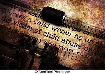 vendange, abus, machine écrire, formulaire, enfant