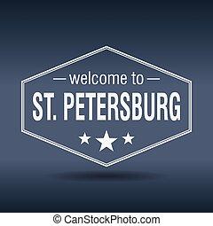 vendange, accueil, étiquette, petersburg, hexagonal, rue, blanc