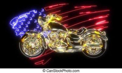 vendange, américain, vidéo, motocyclette, couperet