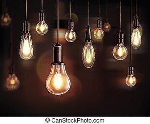 vendange, ampoules, fond, lumière