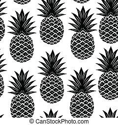 vendange, ananas, seamless