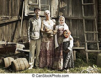 vendange, appelé, portrait, de, campagne, famille