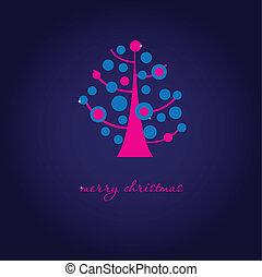 vendange, arbre, fond, floral, vacances, noël carte