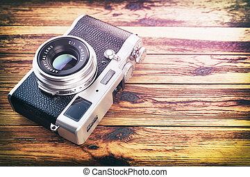 vendange, arrière-plan., bois, retro, table, appareil photo