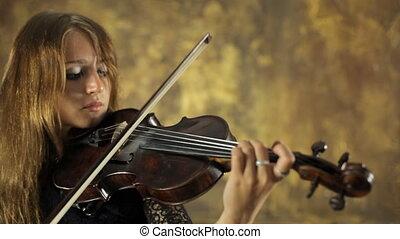 vendange, arrière-plan noir, violon, girl, agréable, robe, jouer