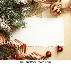 vendange, art, noël carte, salutation
