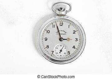 vendange, article, horloge, montre, antiquité, poche, argent