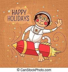 vendange, astronaute, singe, carte, salutation