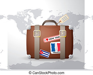 vendange, autocollants, valise