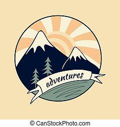 vendange, aventure, coloré, étiquette
