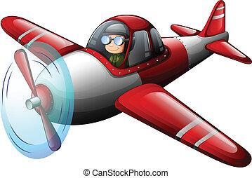vendange, avion, rouges, pilote
