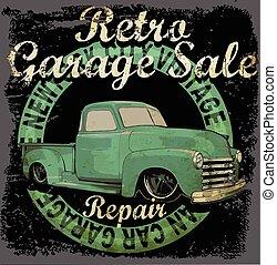 vendange, bannière, retro, garage