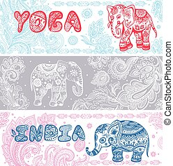 vendange, bannières, ensemble, ethnique, éléphants