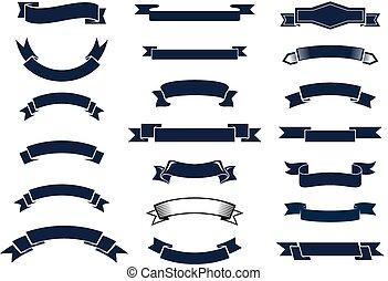 vendange, bannières, ruban, classique