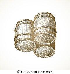 vendange, barils, fond, vecteur, illustration., dessiné, bois, papier, main, -