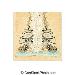 vendange, bateau, papier, pirate