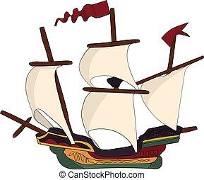 vendange, bateau, voiles, galion