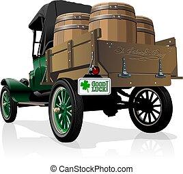 vendange, bière, vecteur, camion, saint, patrick's