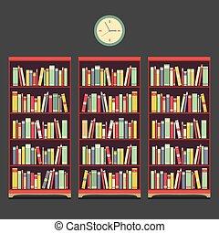 vendange, bibliothèque, trois, design.