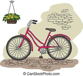 vendange, bicycle., vecteur, illustration.