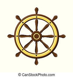 vendange, blanc, isolé, navigation., bateau, symbole, roue, arrière-plan.