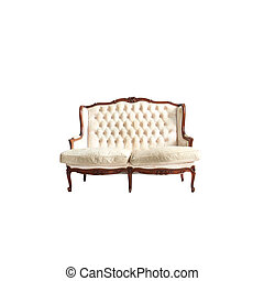 vendange, blanc, isolé, sofa