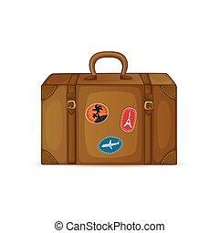 vendange, blanc, isolé, valise