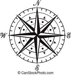 vendange, blanc, vecteur, noir, compas