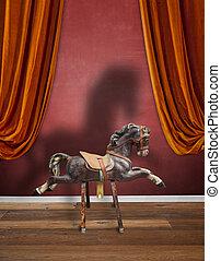 vendange, bois, enfants, cheval, à, sien, fort, ombre