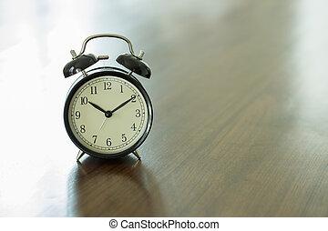vendange, bois, horloge, table
