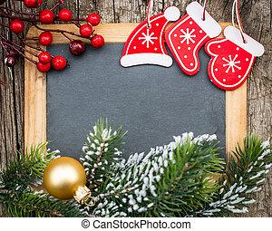 vendange, bois, tableau noir, vide, encadré, dans, arbre noël, branche, et, decorations., hiver, fetes, concept., espace copy, pour, ton, texte