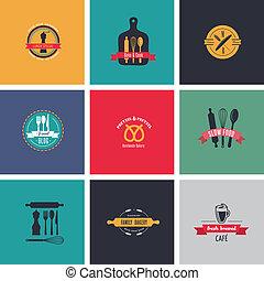 vendange, boulangerie, étiquettes, café, collection