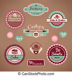 vendange, boulangerie, étiquettes, ensemble
