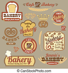 vendange, boulangerie, retro, insignes, logo