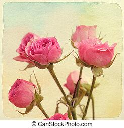 vendange, bouquet., roses, papier, retro, textured., style.