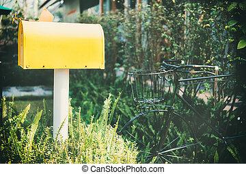 vendange, box., vieux, jaune, courrier